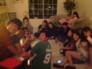 Overseas students enjoying an evening at our house