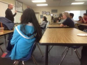 Sian organizes monthly international fellowship meetings at Maranatha's high school. Steve Kaptain, a missionary to Asia, talks to a mixture of international and American students.