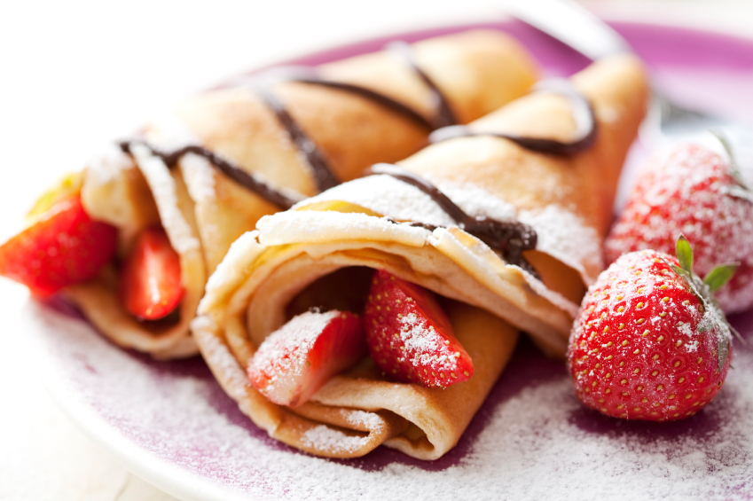 Crepes and strawberries